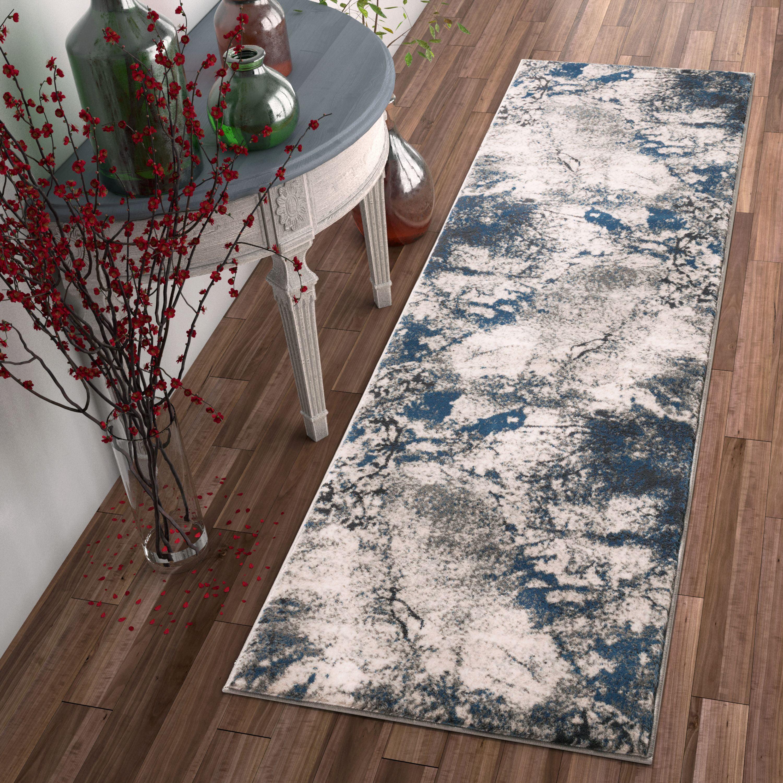 """Well Woven Luxbury Supurasshu Modern Distressed Abstract Blue 2'3"""" x 7'3"""" Runner Rug"""