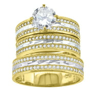 14kt Gold Womens Two-tone DC CZ Lined Trio His Hers Center Stone White SZ7 Wedding Engagement Bridal