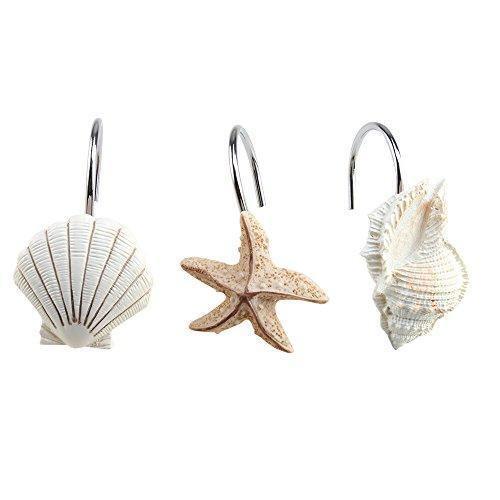 agptek 12pcs shower curtain hooks bathroom home fashions seashell anti rust decorative resin hooks