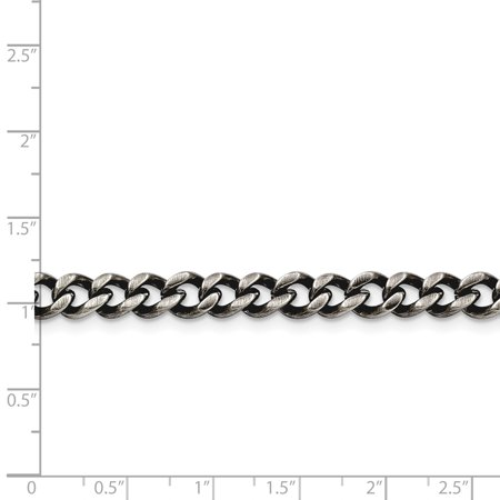 Stainless Steel 6.70mm Polished and Antiqued Curb Chain 24in - image 1 of 3