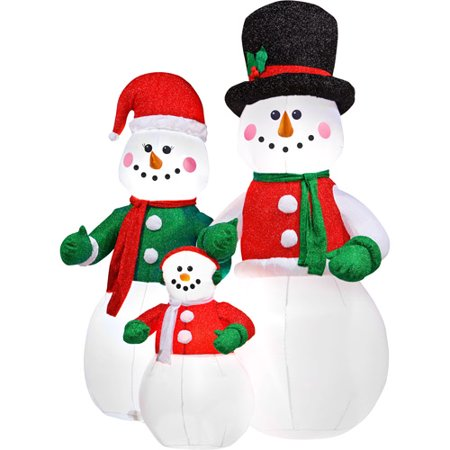 airblown inflatable snowman family christmas decor 7 39 tall. Black Bedroom Furniture Sets. Home Design Ideas