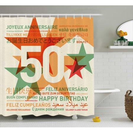 50th Birthday Decorations Shower Curtain, Happy Birthday in All Languages Retro Backdrop with Stars, Fabric Bathroom Set with Hooks, 69W X 70L Inches, Green Red Orange, by - Retro Happy Birthday