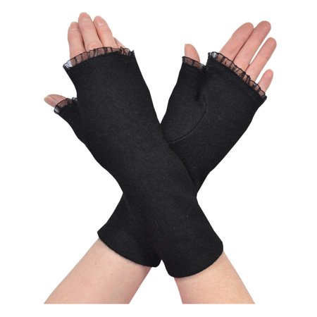 (Womens Black Fingerless Gloves Chiffon Ruffle Trim Winter Fashion Wool Gloves)