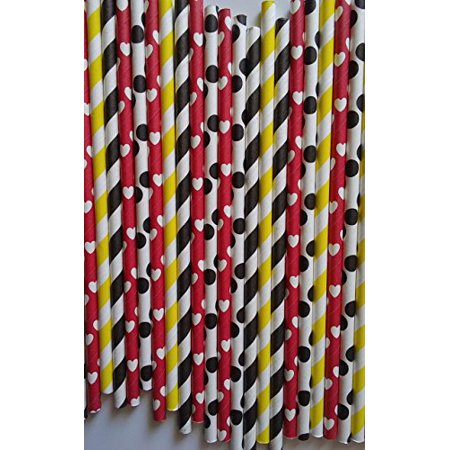100 premium paper drink straws Mickey mouse theme party can be use for cake pop stick by ETL Products for $<!---->