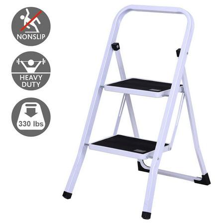 Gymax 2 Step Ladder Folding Steel Step Stool Anti Slip