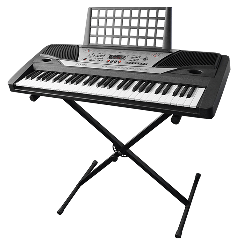 "Electronic Piano Keyboard 61 Key Music Key Board Beginner 37x14x5"" Piano LCD Display w/ X Stand Manual"