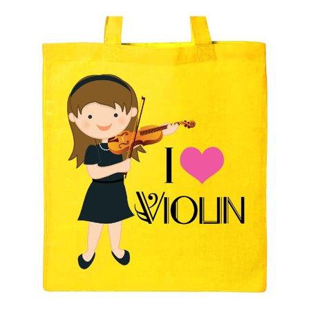 Girls I Heart Violin Tote Bag (Handbags With Hearts)