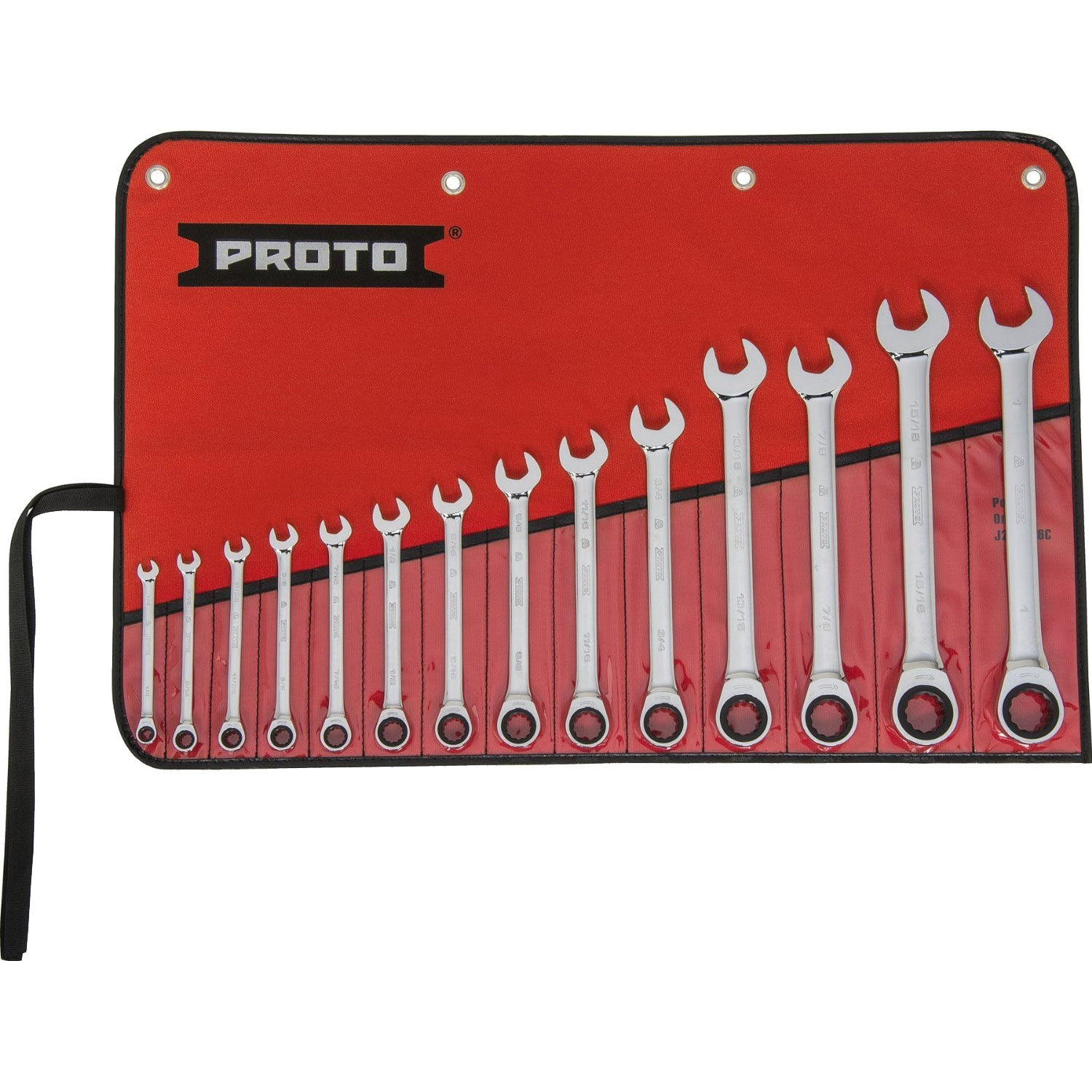 "Proto Tool JSCRT-14S 14pc - 1/4"" to 1"" SAE Combo Ratcheting Wrench Set 12 pt"
