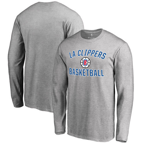 Men's Gray LA Clippers Victory Arch Long Sleeve T-Shirt