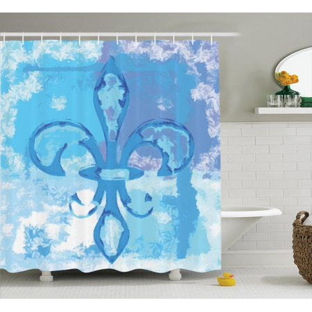 (Fleur De Lis Decor Shower Curtain Set, Illustration Of Lily Flower Like Frozen Heredic Nobility Emblem Queenly Style Print, Bathroom Accessories, 69W X 70L Inches, By Ambesonne)