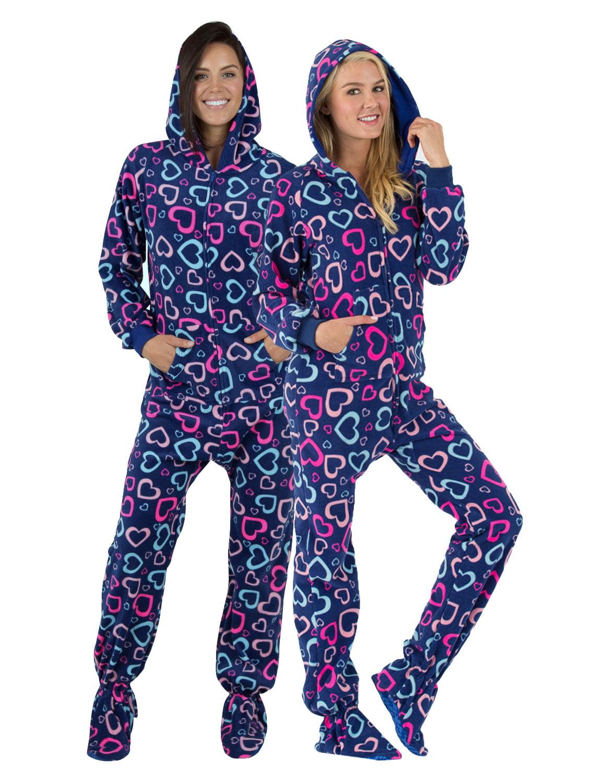 Footed Pajamas - Footed Pajamas - Hearts of Love Adult ...