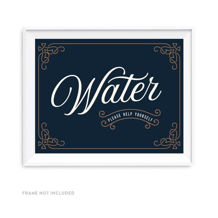 Navy Blue Art Deco Vintage Party Signs, Water Please Help Yourself Ceremony Reception Dessert Table Sign, 8.5x11-inch