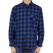 LELINTA Men's Long Sleeve Plaid Shirt Mens Plaid Standard-Fit Checked Button Down Cotton Casual Shirts Blue