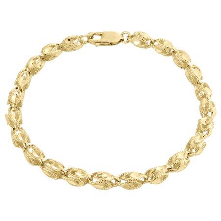 10K Yellow Gold 4.75mm 3D Turkish Rope Link Milgrain Diamond Cut Bracelet 8 Inch