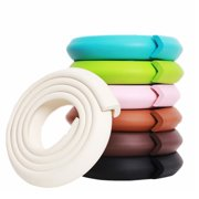 M2cbridge 6.5Ft L Shape Extra Thick Soft Strip Baby Safety Foam Bumper Guard Cushion Protectors for Furniture Desk Table Step Fireplace Windowsill Edge Corner (Rice white)