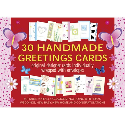30 Handmade Greetings Cards Red/Pink Box: original designer cards individually wrapped with envelopes