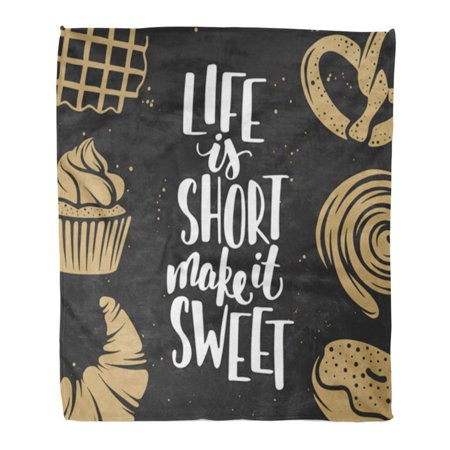 KDAGR 50x60 inch Super Soft Throw Blanket Bakery and Lettering with Bread Pastry Pie Buns Sweets Cupcake Donut Waffles Home Decorative Flannel Velvet Plush Blanket