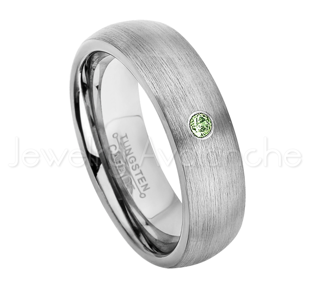6mm Brushed Dome Tungsten Ring 0.07ct Solitaire Green Tourmaline Ring Personalized Tungsten Wedding Ring Custom Made... by Jewelry Avalanche