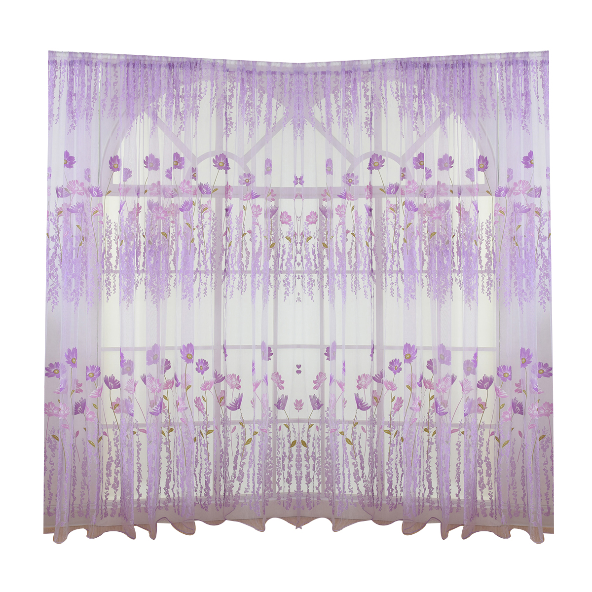 200x100cm Galsang Flower Sheer Curtain Tulle Window Treatment Voile Drape Valance (Blue) by