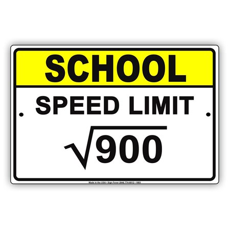 Limited Metal (School Speed Limit √900 30 MPH Safety Math Geek Funny Notice Aluminum Note Metal Sign Plate)