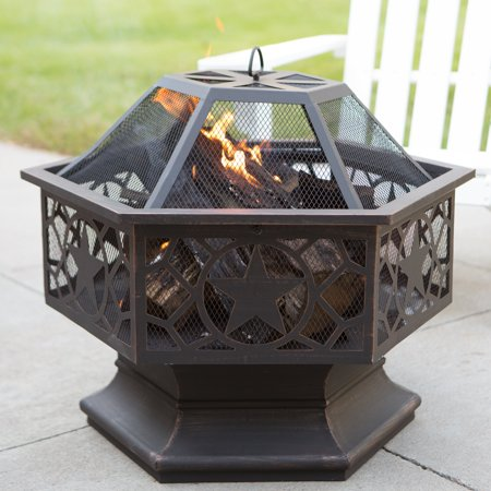 Red Ember 28 In  Lone Star Wood Burning Steel Fire Pit With Free Cover