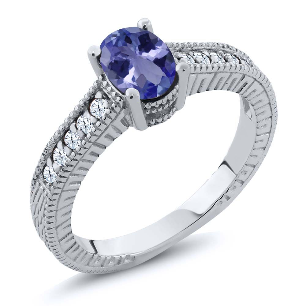 1.05 Ct Oval Blue Tanzanite AAAA 925 Sterling Silver Engagement Ring by