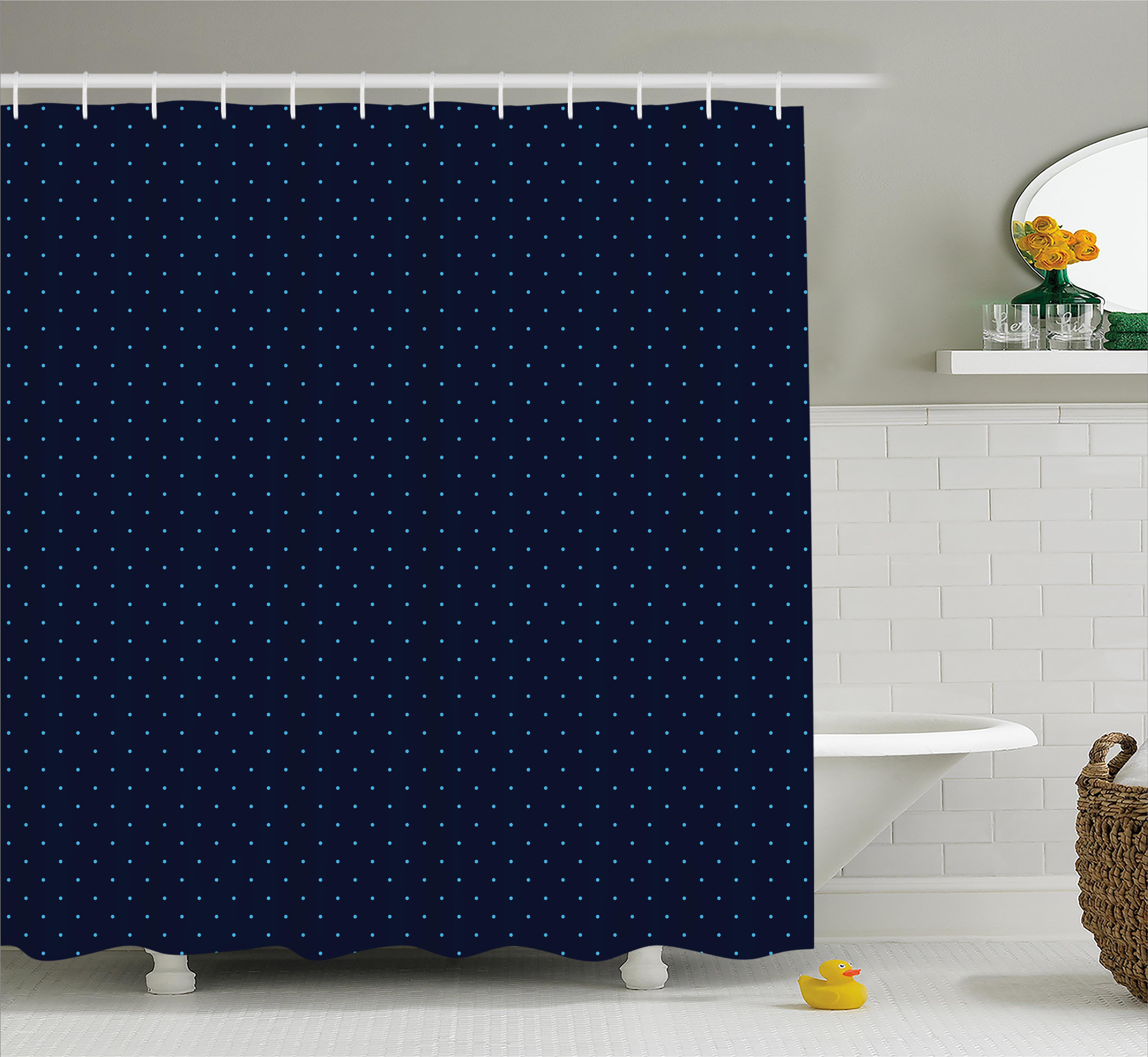 Navy Blue Decor Shower Curtain, Simple Blue Dots on Dark Blue Background Cute Style Artwork, Fabric Bathroom Set with Hooks, 69W X 70L Inches, Light Blue and Dark Blue, by Ambesonne
