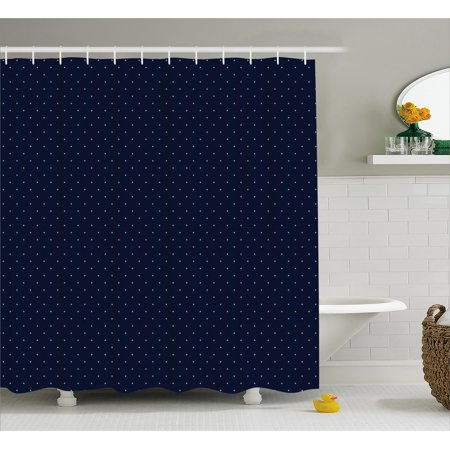 Navy Blue Decor Shower Curtain, Simple Blue Dots on Dark Blue Background Cute Style Artwork, Fabric Bathroom Set with Hooks, 69W X 70L Inches, Light Blue and Dark Blue, by Ambesonne ()