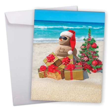 J6651EXSG Jumbo Merry Christmas Card: 'Season's Beachin'' Featuring Christmas Greetings from Sunny Beaches Around The World Greeting Card with Envelope by The Best Card (Best Headphones Company In World)