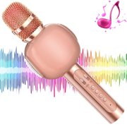 KVDUKOA Karaoke Microphone, Portable Handheld Wireless Bluetooth Karaoke Mic Machine for Home, Party, Birthday Gifts and Kids Girls Toys Age 5 6 7 8 9 (Rose Gold) Rose Gold