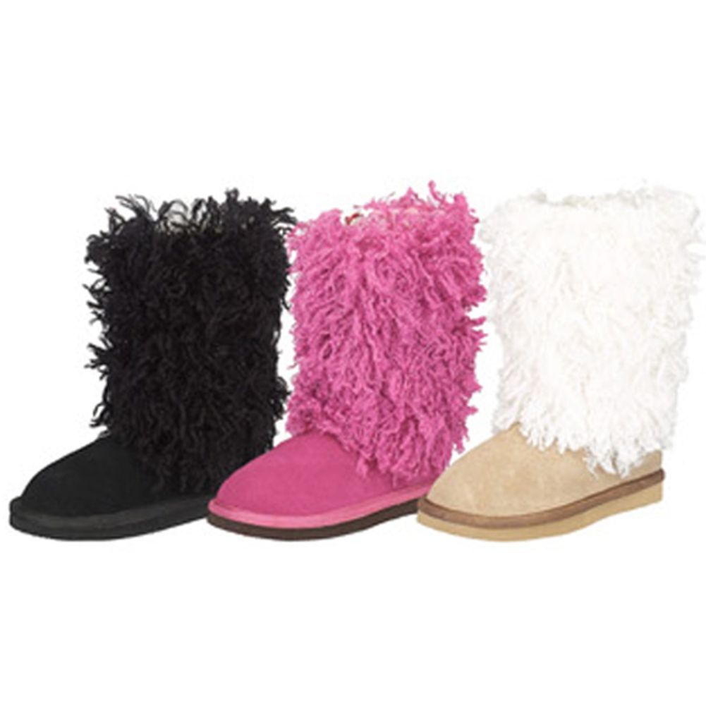 Trendy Faux Suede Shag Toddler Little Girls Mid Calf Boot...