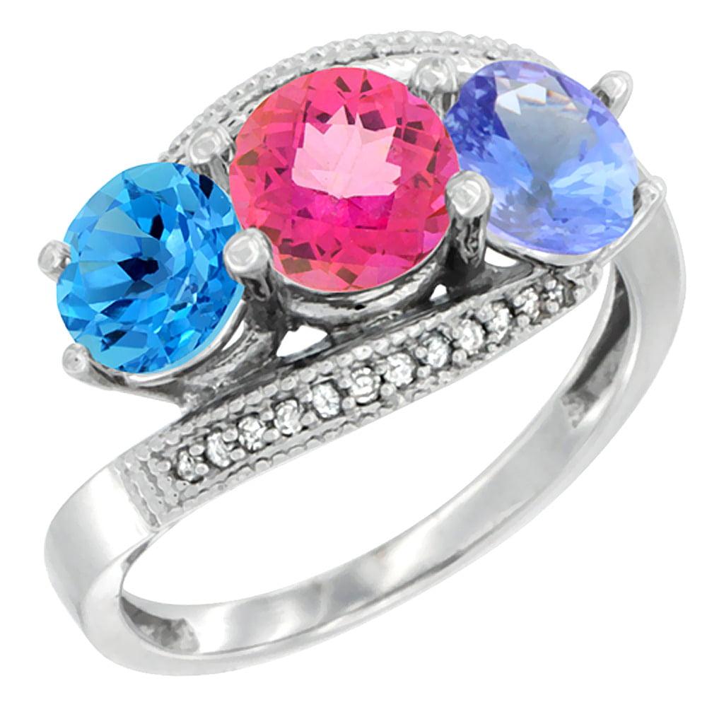 14K White Gold Natural Swiss Blue Topaz, Pink Topaz & Tanzanite 3 stone Ring Round 6mm Diamond Accent, size 5.5 by Gabriella Gold