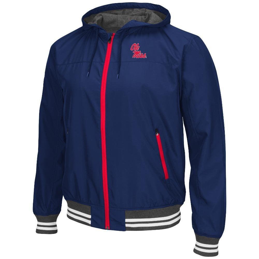 Mens NCAA Ole Miss Rebels Black Ice Hooded Windbreaker Jacket (Team Color) M, Black Ice Hooded Windbreaker Jacket.... by