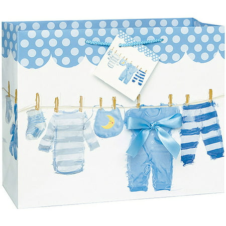 Large blue clothesline baby shower gift bag for Baby clothesline decoration baby shower