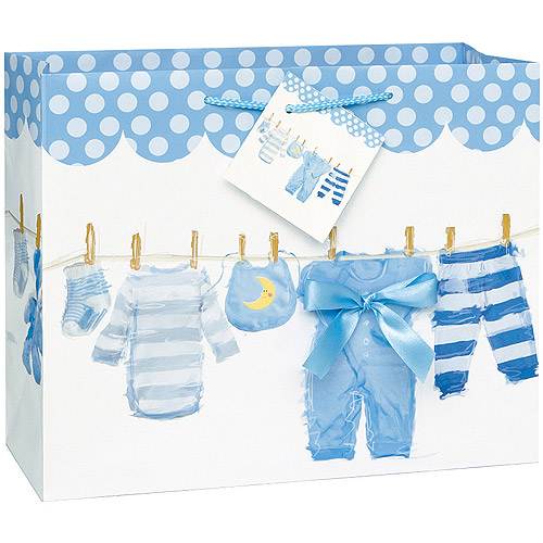 Clothesline Baby Shower Gift Bag, 13 x 10.5 in, Blue, 1ct