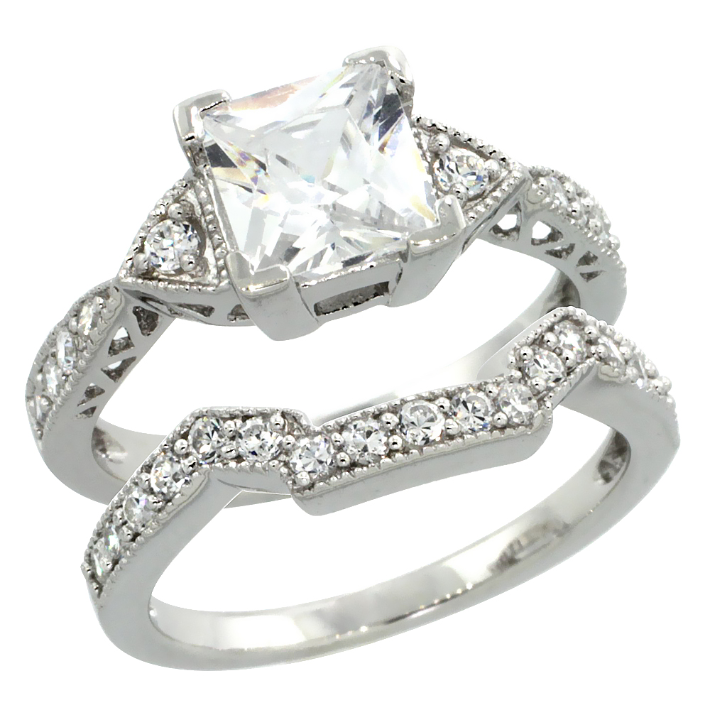 Sterling Silver Vintage Style 2Pc Square Engagement Ring Set w