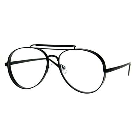 Unique Retro Vintage Classic Metal Rim Pilots Clear Lens Eye Glasses Black ()