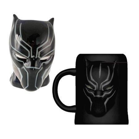 Mozlly Marvel Comics Black Panther Molded Ceramic 16oz Coffee Mug and Marvel Comics Black Panther Molded Ceramic 16oz Coffee Mug Novelty Character Collectible (Mug Ceramic Mold Molds)