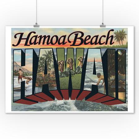 Hamoa Beach, Hawaii - Large Letter Scenes (9x12 Art Print, Wall Decor Travel Poster) ()