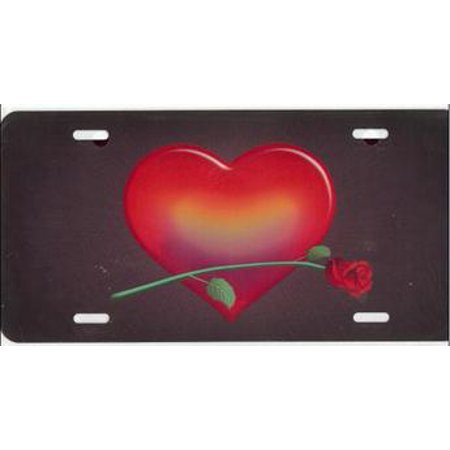 Heart Red with Red Rose Airbrush License Plate Free Names on this Air Brush - image 1 of 2