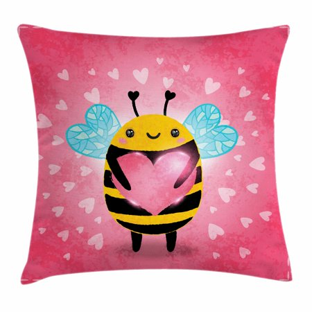 The Giant Cartoon (Queen Bee Throw Pillow Cushion Cover, Valentine's Day Themed Bumblebee Holding a Giant Heart Cartoon Style, Decorative Square Accent Pillow Case, 24 X 24 Inches, Coral Pale Blue Yellow, by)