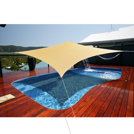 Alion Home Rectangle Sand Sun Shade Sail For Patio Pool Deck Porch Garden with 8'' Stainless Steel Hardware Kit  16' x 20' ()