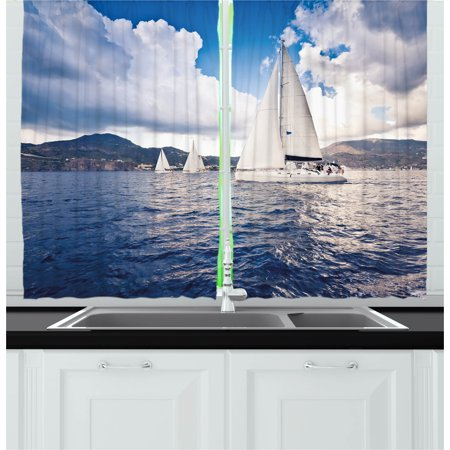 Nautical Curtains 2 Panels Set, Sailing Boat and White Sails on Sea Waves with Cloudy Sky Adventure Photo, Window Drapes for Living Room Bedroom, 55W X 39L Inches, Blue and White, by Ambesonne