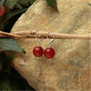 Betty Rocks BERDRJ20114001LB Euro Lever Back 14mm Round Dyed Red Jade Earrings