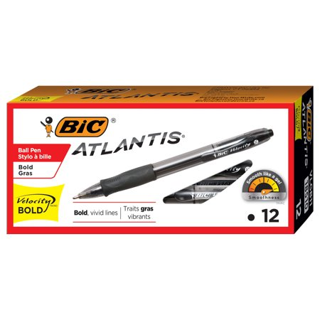 BIC Atlantis Velocity Bold Retractable Ballpoint Pen, Bold Point (1.6mm), Black, 12 Count