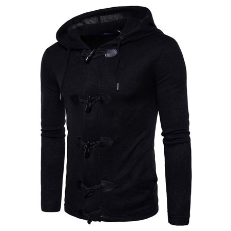 DZT1968 Men's Autumn Winter Fashion Men Slim Designed Hooded Top Cardigan Coat Jacket
