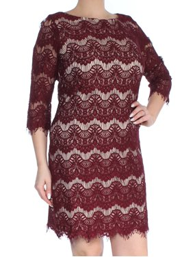 24791d7f3218 Free shipping. Product Image JESSICA HOWARD Womens Burgundy Fringed Lace  Long Sleeve Boat Neck Above The Knee Shift Dress Size
