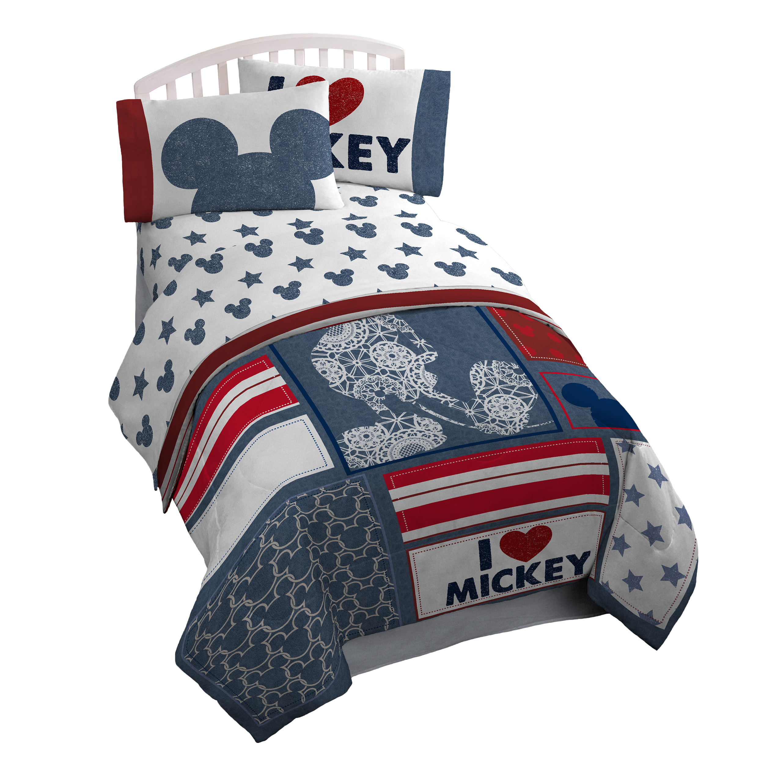 Disney Mickey Mouse: Red, White & Blue Full Comforter & Sheet Set (7 Piece Bed in A Bag)