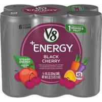 (24 Cans) V8 +Energy Black Cherry, 8 Fl Oz
