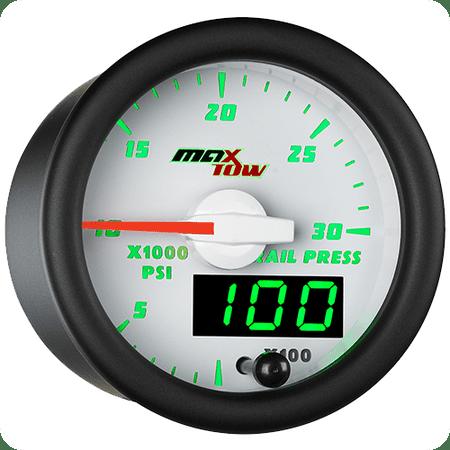 MaxTow White and Green Diesel Fuel Rail Pressure Gauge